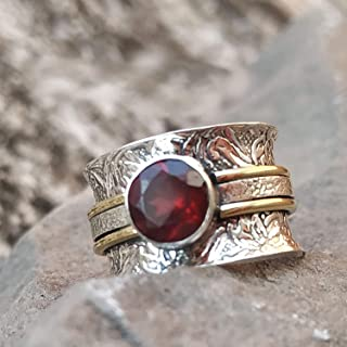 549deaef6 Garnet Wider Band Ring, 925 Silver Ring, Band Ring, Ruby Birthstone Jewelry,