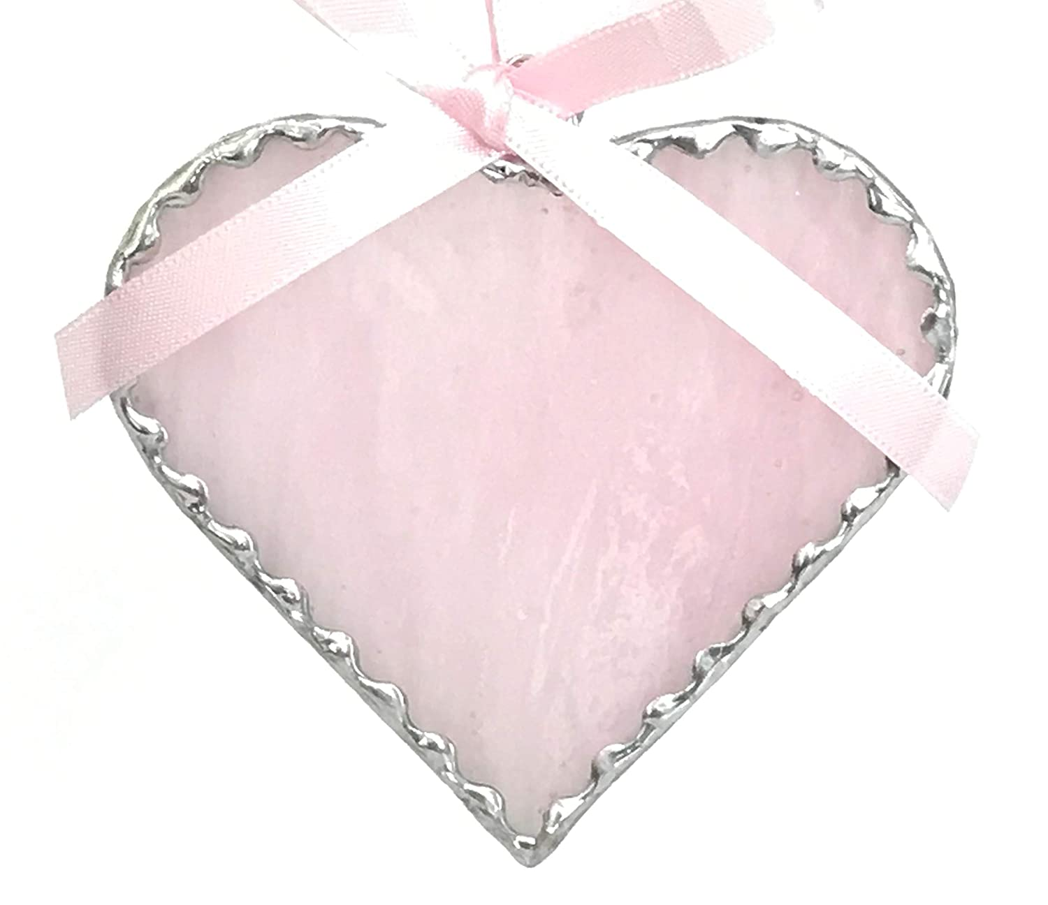 Some reservation Heart Pastel Pink Stained Ornament Window Glass Popular overseas Suncatcher