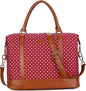 BAOSHA HB-28 Ladies Women Canvas Travel Weekender Bag Overnight Carry-on Shoulder Duffel Tote Bag (Red Dot)