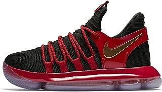 Nike Zoom KD10 LE Grade School Basketball Shoe (4.5Y, Black/Metallic Gold/University Red)