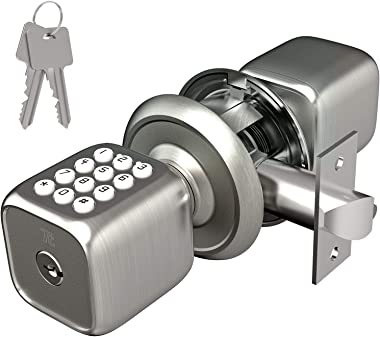 TURBOLOCK Multi-Function Electronic Door Knob with Lock and Key Plus Keyless Keypad - Featuring Disguised Passcode Entry (Mod