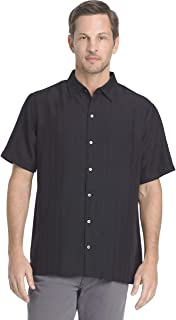 Van Heusen Men's Air Short Sleeve Button Down Poly Rayon Stripe Shirt
