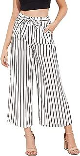 SweatyRocks Women's Striped High Waisted Wide Leg Palazzo Pants Capris