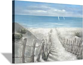 """Abstract Beach Artwork Coastal Picture: Rustic Wooden Fence Path to Ocean Painting on Canvas Wall Art for Bedroom (36"""" x 24"""" x 1 Panel)"""