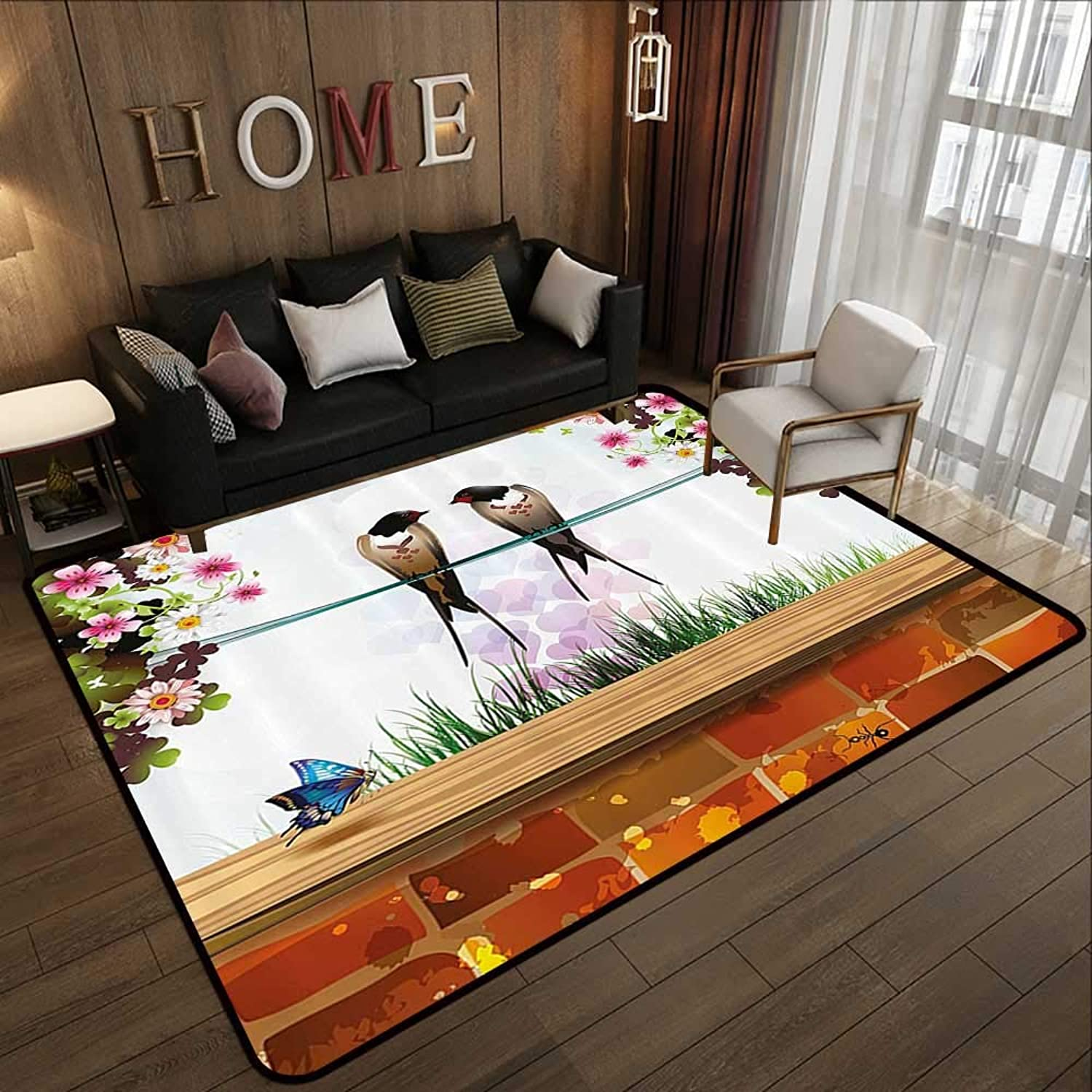 Large Area Rugs,Nature,Garden with Brick Wall Two Cute Swallows Butterfly Blooming Spring Flowers Clear Sky,Multicolor 47 x 59  Polyester Rubber Door Mats