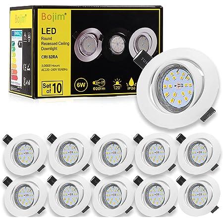 Spots LED Encastrables Orientable Bojim 6x GU10 6W Blanc Neutre 4500K Lumière du jour Spot de plafond Blanc Mat 600lm Equivalente de 54W 220V, Plafonnier Encastré IP20 30°Orientable 120°d'éclairage