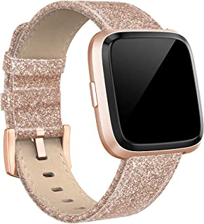 Leather Bands Compatible with Fitbit Versa 2 & Versa Lite Small & Large, Genuine Leather Band with Stainless Steel Buckle Strap Replacement Wristband for Versa Women Men, Rose Gold, Black, Brown