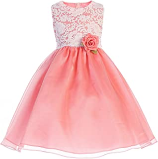 a85b32ba0aa Crayon Kids Big Girls Coral Floral Lace Easter Flower Girl Dress 7-10