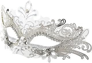 Coxeer Masquerade Mask Laser Cut Metal Masks Mardi Gras Halloween Masks for Women Ball Party (White/ Silver)