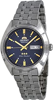 Orient RA-AB0E08L Men's 3 Star Stainless Steel Blue Dial Day Date Automatic Watch