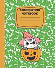 Cute Kawaii Witch Cat: Halloween College Ruled Composition Notebook 7.5x9.25