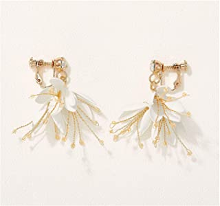 woman/'s fashion dangle earrings Costume jewelry gifts for her Vintage flower clip on earrings wedding accessories bridal