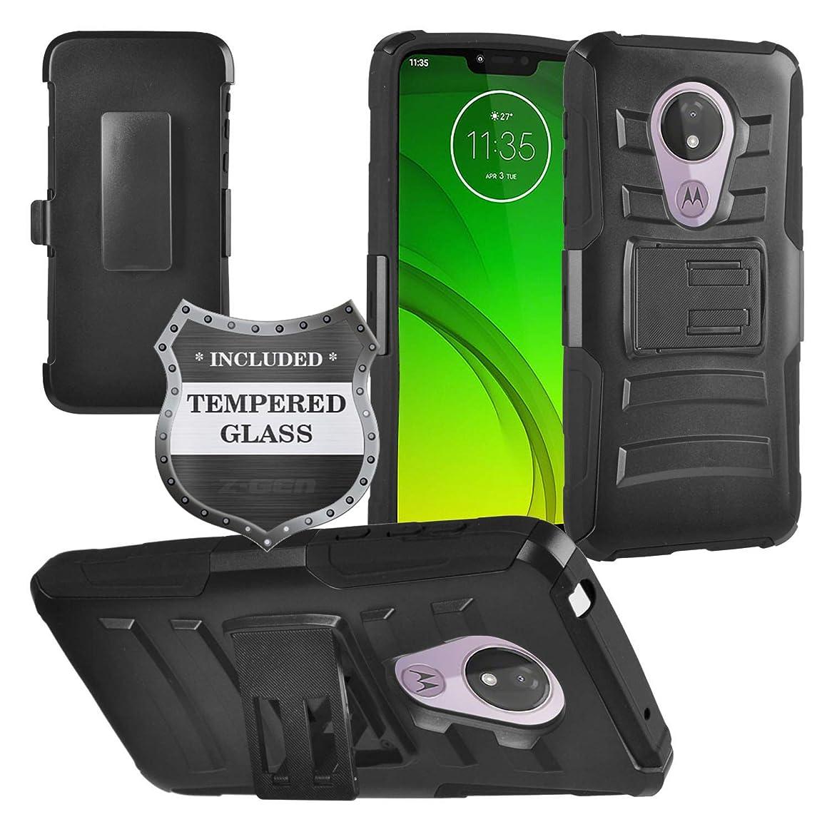 Z-GEN - for Motorola Moto G7 Power (U.S. Version), Moto G7 Supra, Moto G7 Optimo Maxx XT1955DL - Hybrid Armor Phone Case w/Stand/Belt Clip Holster + Tempered Glass Screen Protector - CV1 Black