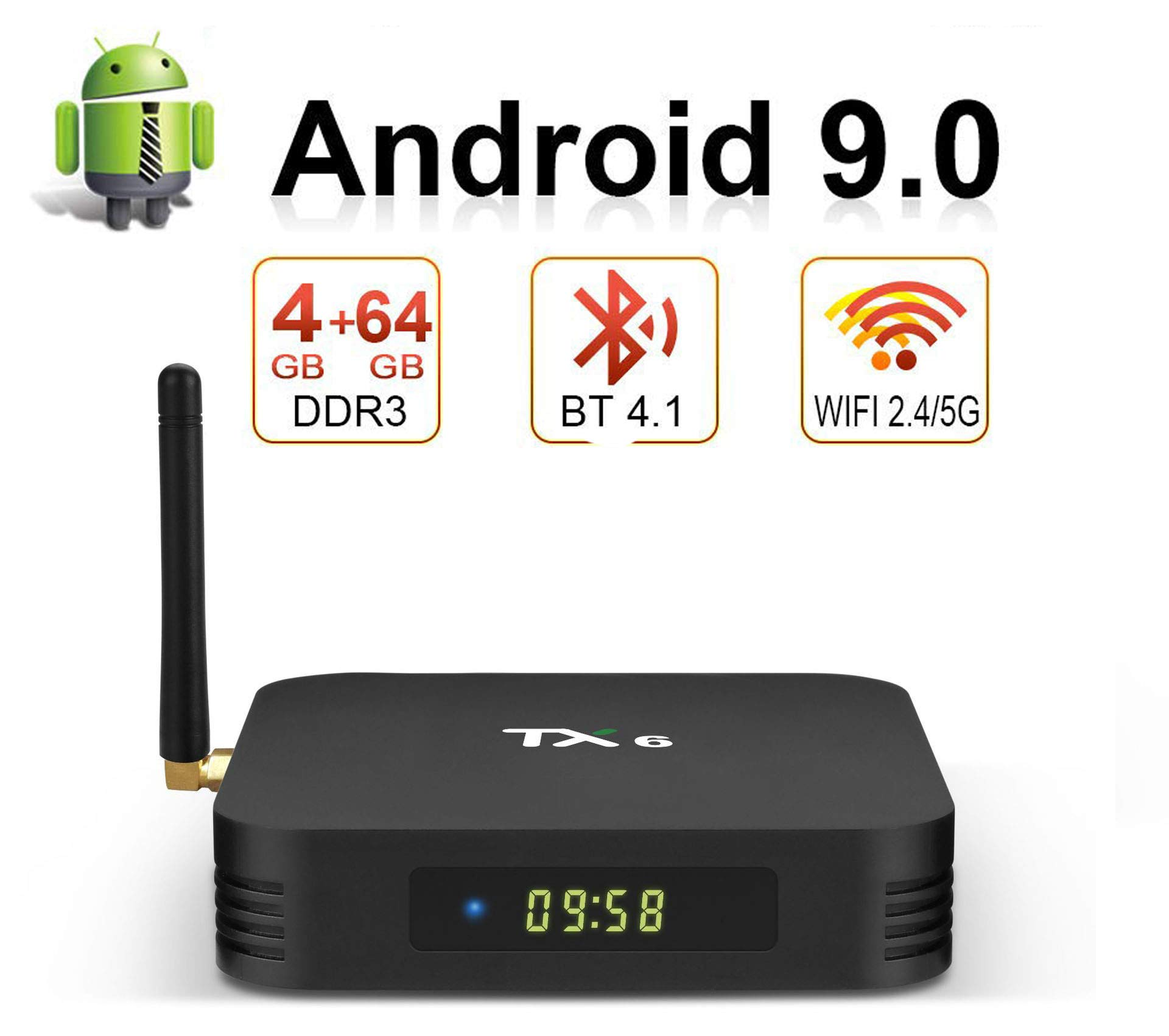 Bqeel Android 9.0TV Box B1 MAX, 4G RAM 64G Emmc, CPU H6 64-bit, Wi-FI 2.4G / 5G 100M LAN, USB 3.0 / HDMI2.1 / SPDIF, H.265 4K Smart TV Box Android,4gb+64gb: Amazon.es:
