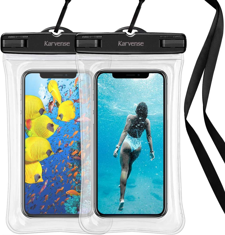 Waterproof Phone Bag Floating, Karvense Waterproof Cell Phone Lanyard Case/Pouch/Holder Floating for iPhone, Samsung Galaxy, LG, Moto, Pixel, All Phones up to 7.0'', Universal Dry Bag – 2 Pack