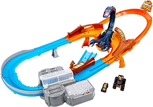 Hot Wheels Monster Trucks Scorpion Raceway Boosted Set with Monster Truck and Hot Wheels Car and Giant Scorpion Nemes...