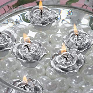 Efavormart Set of 12 Silver Mini Floating Rose Candle Ideal for Aromatherapy Weddings Party Favors Home Decoration Supplies