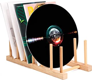 Vinyl Record Storage Holder Stand Rack Eco Friendly Wooden CD Display Stand, Stackable Modern CD Holder Portable Counterto...