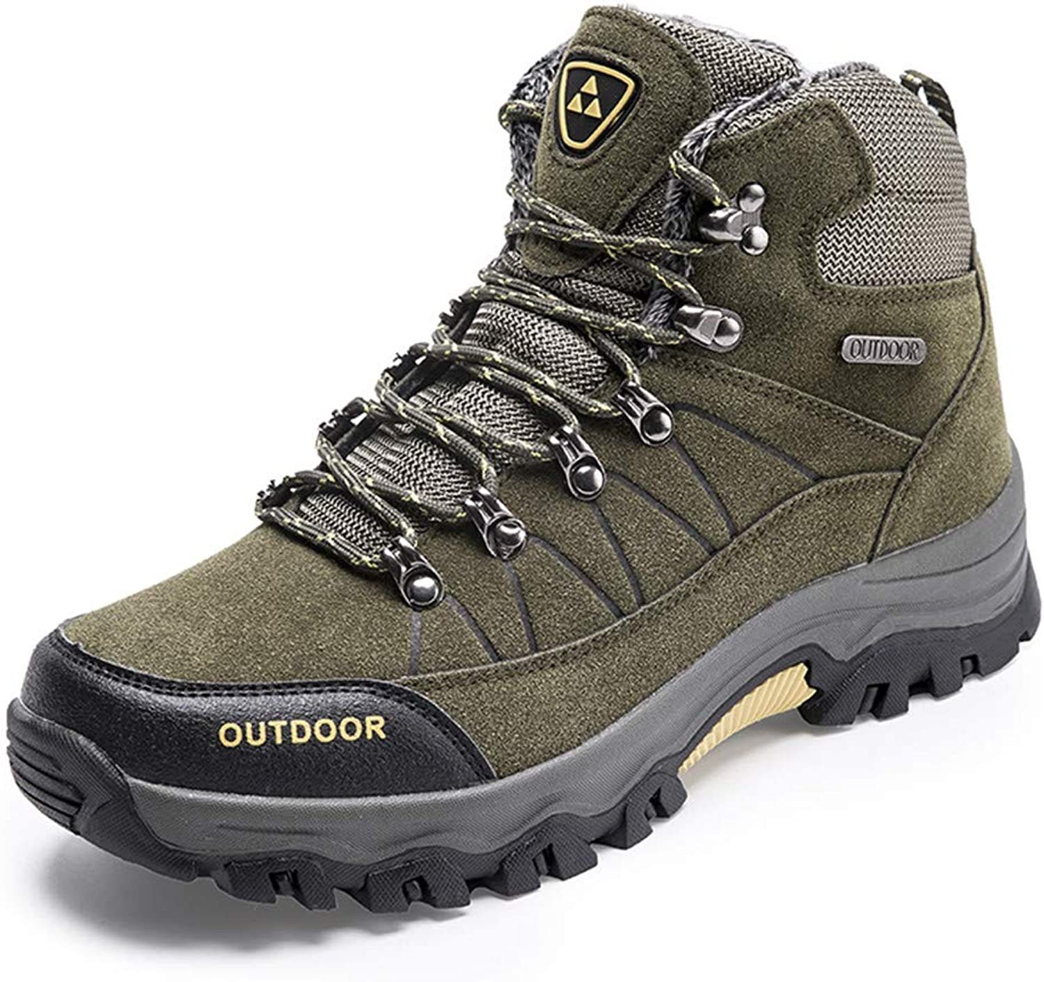 PEALAND Men's Mid Trekking Waterproof Hiking Boots Cold Weather with Fur Lined Outdoor Hiker