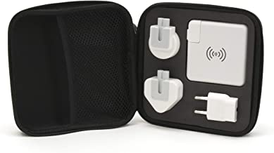 M-Edge Globetrotter Portable Charger, with Hard Case, Wall Charger, International Travel Plug Adapter, Qi Tech High-Speed Wireless Power Bank, All-in-One