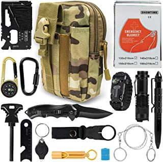 Puhibuox Cool Survival Gear Kit, Gifts for Him Dad Husband Men Boyfirend Teen Boys, Outdoor Emergency Tactical 15-in-1 Survival Tool for Cars, Camping, Hiking, Hunting, Adventure Accessories