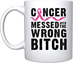 Veracco Cancer Messed With The Wrong B Ceramic Coffee Mug Breast Cancer Awareness Gift (White)