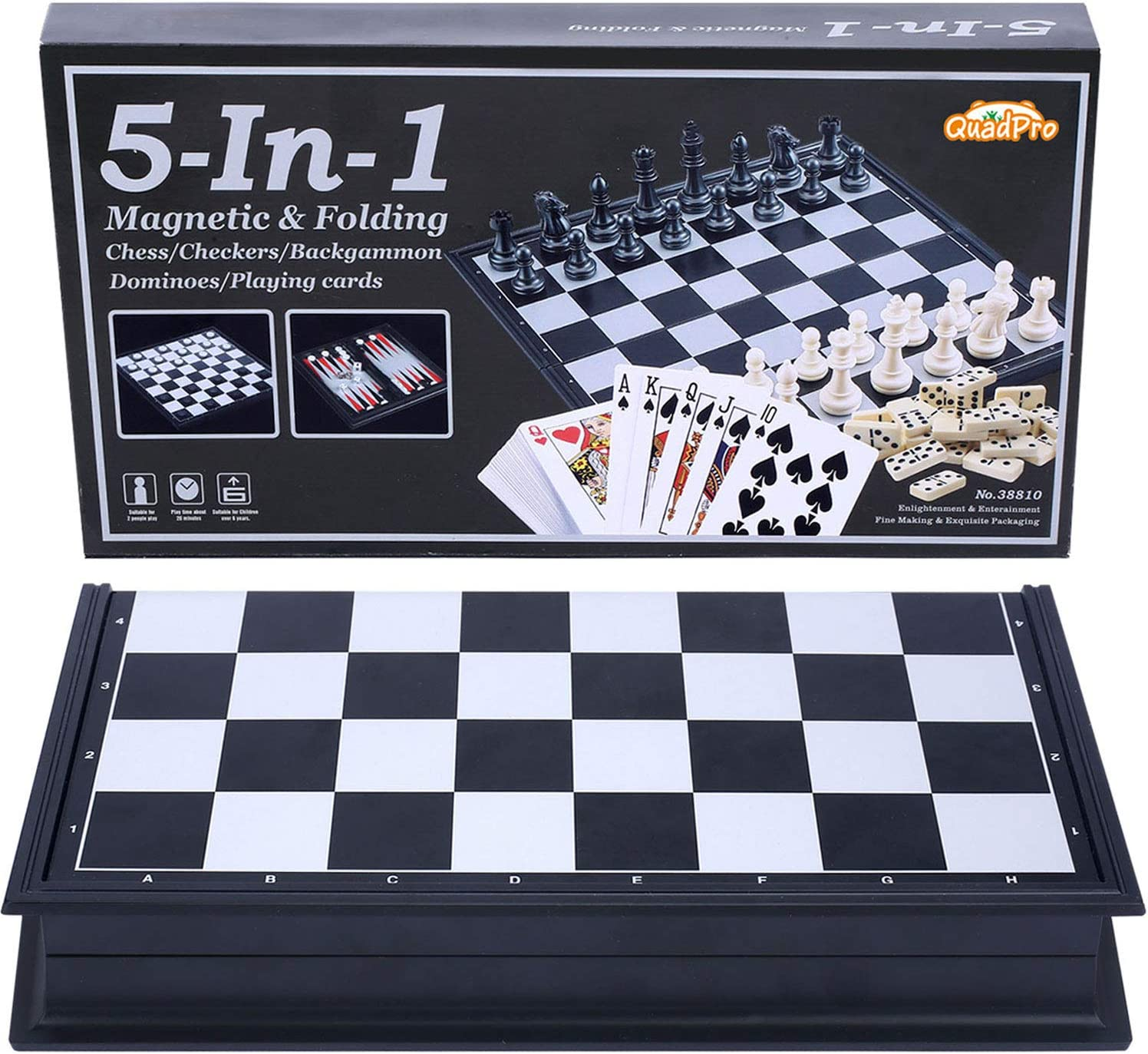 Quadpro Limited price 5 Max 44% OFF in 1 Magnetic Checkers Game Backgammon Board Set Chess