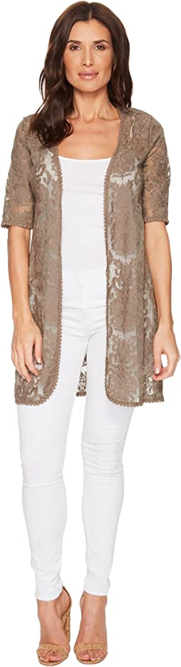 Embroidered Mesh Elbow Sleeve Cardigan