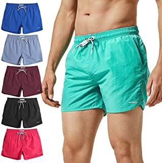 d41acd8076e47 MaaMgic Mens Boys Short Solid Swim Trunks with Mesh Lining Quick Dry Mens  Bathing Suits Swim