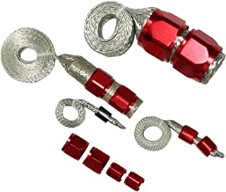 yjracing Stainless Steel Dress Up Hose Engine Cover Kit Radiator Vacuum Oil Fuel Heaterc Red