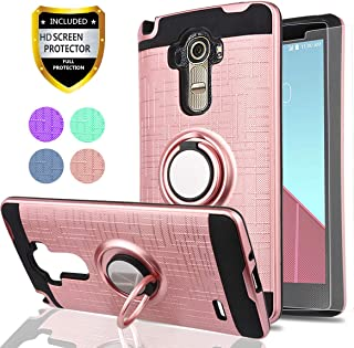 Ymhxcy for (LG G4 Stylus) Case,LG G Stylo Phone Case with HD Phone Screen Protector,(Not Fit LG G4) 360 Degree Rotating Ring & Bracket Dual Layer Resistant Back Cover for LG LS770-ZH Rose Gold