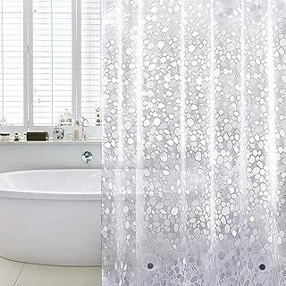 WELTRXE Zasłona prysznicowa, odporna na pleśń, magnesy obciążające na dole, 0,2 mm (183 x 183 cm), wodoszczelna, antybakte...