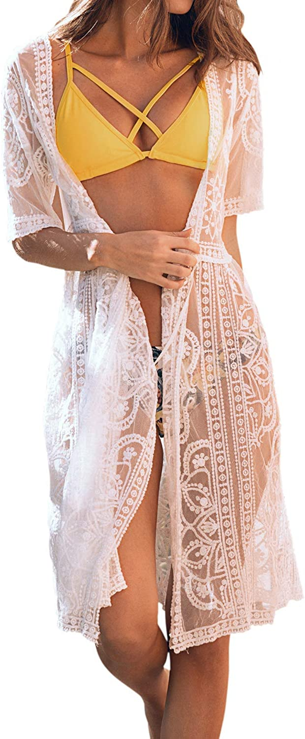 CUPSHE Women's Striped Adjustable Strap Bikini Sets Lace Cardigan Floral Crochet Sheer Bathing Suit Cover Up