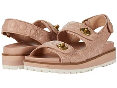COACH Kacie Sandal (Pale Blush Quilted Leather) Women