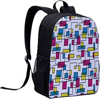 Abstract Versatility Backpack,Artistic Digital Line with Color Featured Geometric Forms Creative Fractal Graphic Decorative for Trips,12″L x 5″W x 17″H