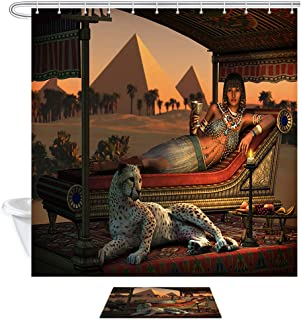Egypt Animals Leopard Shower Curtain, Ancient Egyptian Sex Lady and a Tame Cheetah with Pyramid ,Polyester Fabric Shower Curtain Set with 15.7x23.6in Flannel Non-Slip Floor Doormat Bath Rugs,69X70in