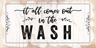 It All Comes Out In The Wash - Large Canvas (Not Printed on Wood) - Stretched on a Heavy Wood Frame - Ready to Hang - Perfect Laundry Room Decor - Great Housewarming Gift Under $50