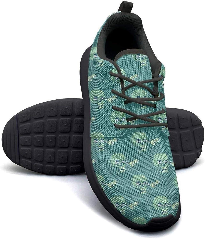 Gjsonmv Funny Skull Art Print mesh Lightweight shoes Women Non Slip Sports Gym Sneakers shoes