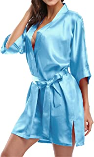 Pure Color Satin Short Silky Bathrobe Sleepwear Nightgown Pajama