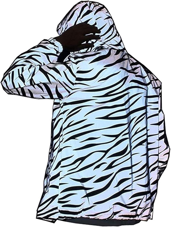 Hip-hop Streetwear Night Coats Reflective Light Jacket Men and Women Mesh Noctilucent Zebra Windbreaker Jackets Hooded (Color : Multi-Colored, Size : XX-Large)