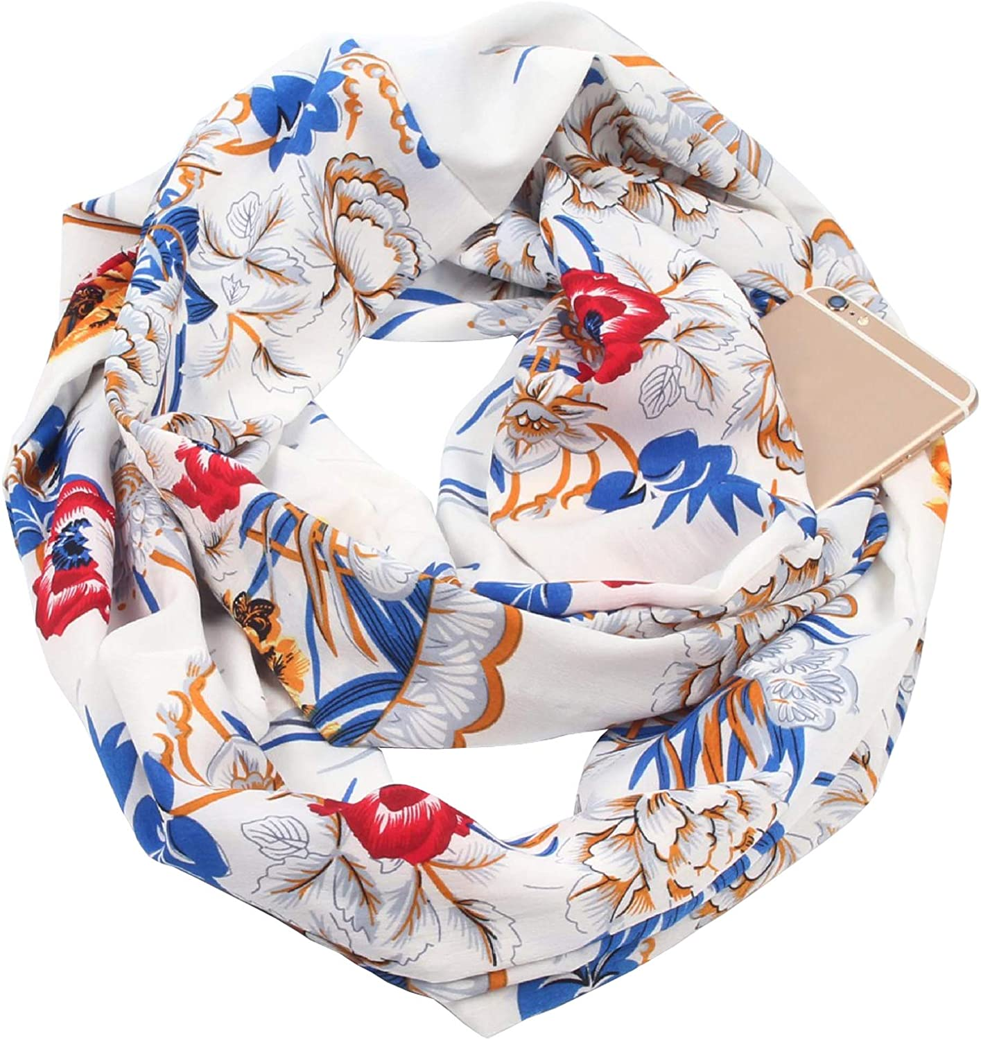 GERINLY Floral Print Infinity Scarf with Hidden Pocket Zipper Circle Loop Scarf for Neck Head