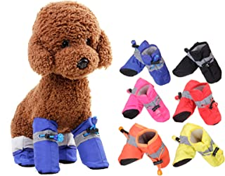 FUNNY DAY Pet Soft Boots,Cute Little Pet Dog Puppy Boots Shoes Booties Candy Colors Rubber Anti-Slip Shoes