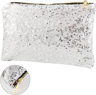 Elfishau Womens Ladies Fashion Oversized Glitter Sparkling Sequins Clutch Handbag, Large Leather Evening Party Bag Wristlet Wallets Bridal Party Prom Envelope Purse - Solid Color