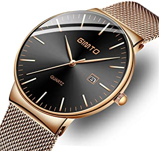 Mens Watches Fashion Casual Stainless Steel Analog Watch Gents Black Simple Ultra-Thin Date Dress Wristwatch