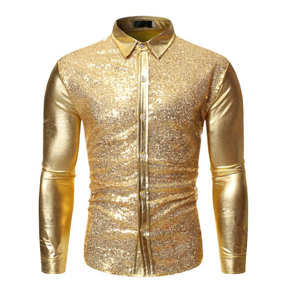 Biddtle Hombres Lentejuelas Camiseta Delgada Manga Larga Botones Metallic Shirt Nightclub Ropa,Oro,M: Amazon.es: Deportes y aire libre