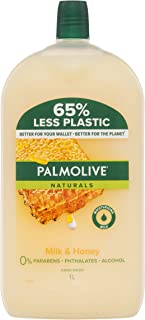Palmolive Naturals Liquid Hand Wash Soap Milk and Honey with Moisturising Milk Refill and Save 0% Parabens Recyclable, 1L