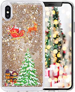 Fusicase for Galaxy S9 Plus Liquid Case Christmas Case Style Christmas Tree Rudolph Pattern Flowing Liquid Floating Luxury Bling Glitter Sparkle Case Cover for Galaxy S9 Plus