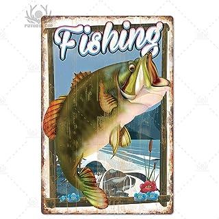 Decoración de pesca Cartel de chapa vintage Cartel de metal retro Decoración de pared para Lake House Cabin Pesca Regalo P...