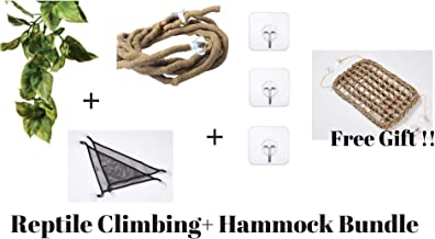 Bearded Dragon and Iguana Cage Kit: Bearded Dragon Hammock,Reptile Vines, leaves and Heavy duty hooks.These Bearded Dragon Accessories are perfect as Reptile Tank Decor. Works as a Lizard Hammock too