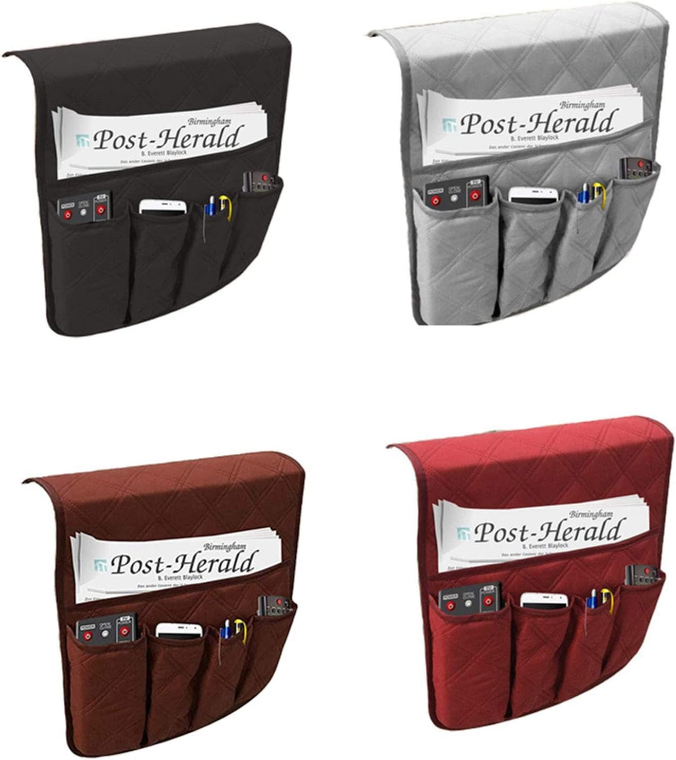 sillones mando a distancia organizador de sof/á bolsa de almacenamiento para TV gris Phoetya Organizador de reposabrazos de sof/á bolsillo antideslizante para sof/á sof/á